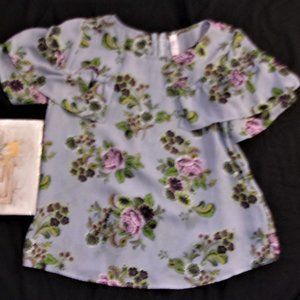 extra small floral flower blue purple womens shirt